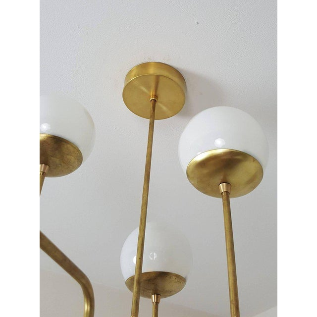 Classic Italian Modern Brass Chandelier With Glass Globes, Model 420 - Image 5 of 7