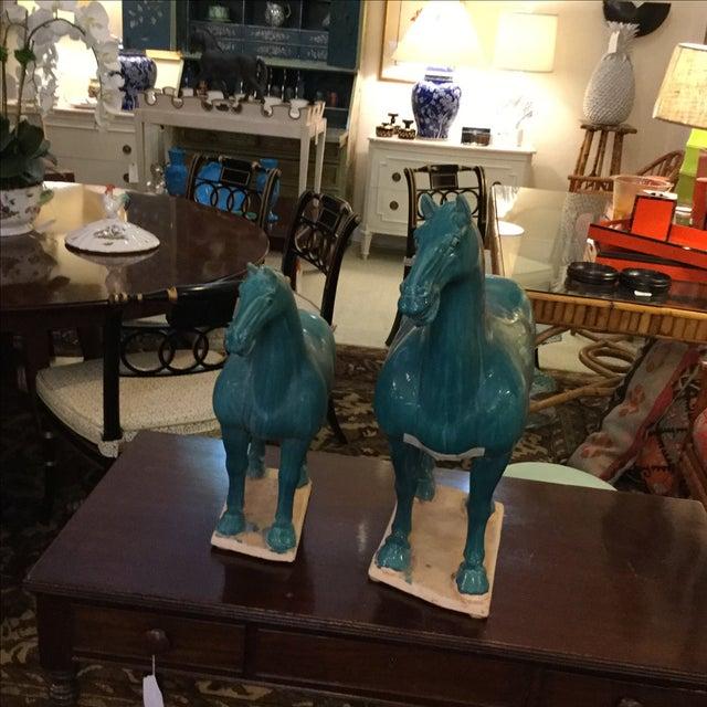 Turquoise Ceramic Horses - A Pair - Image 5 of 5