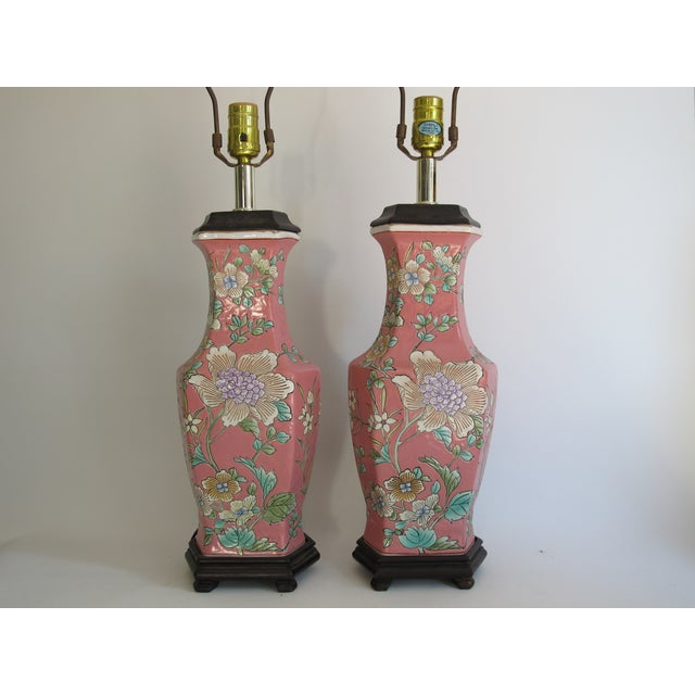 Vintage 1930s Pink Chinoiserie Lamps - A Pair - Image 2 of 10