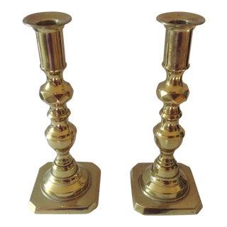19th C. English Bell Metal Candlesticks - a Pair