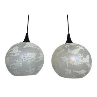 Mid-Century Globe Pendant Lights - a Pair