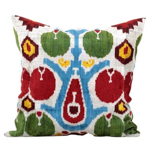 Custom Boho Silk Velvet Ikat Pillow