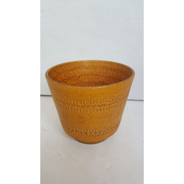 German Modern Etched Mustard Glazed Pot - Image 2 of 3