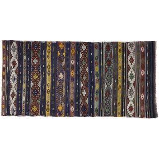 Vintage Turkish Tribal Kilim Rug With Boho Chic Style - 5′5″ × 10′10″