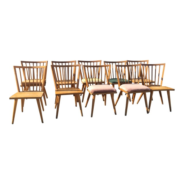 Russell Wright Wooden Dining Chairs For Conant Ball Set