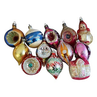 Mid-Century 1960s Christmas Ornaments w/Box - Set of 12