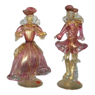 Figurines Murano in Cranberry and Gold