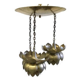 Vintage Brass Triple Lotus Pendant Chandelier