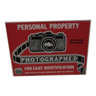 Personal Property Photographed for Id Sign