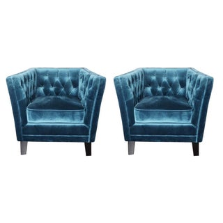 Tufted Blue Velvet Chairs - Pair