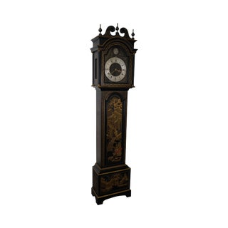 Colonial Black & Gold Chinoiserie Painted Tall Case Grandfather Clock