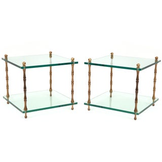 Patinated Brass & Glass Side Tables - A Pair