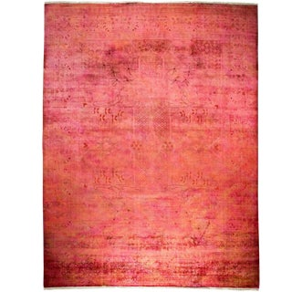 """Pink Over Dyed Hand Knotted Rug- 9' 1"""" x 11' 10"""""""