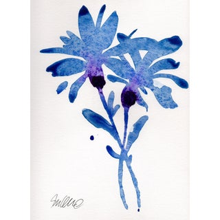 """Indigo Floral"" Watercolor Painting"