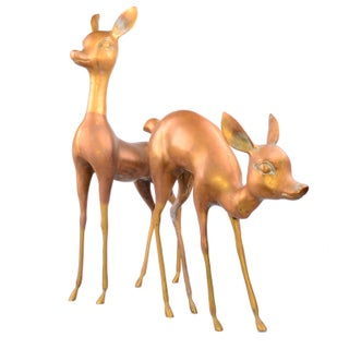Solid Brass Life Sized Fawns - A Pair