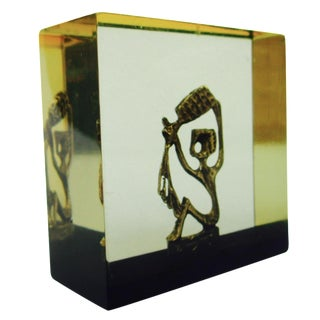 Pal Kepenyes-Style Bronze Sculpture in Lucite