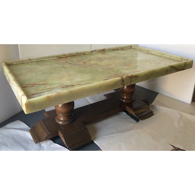 italian onyx top coffee table chairish. Black Bedroom Furniture Sets. Home Design Ideas