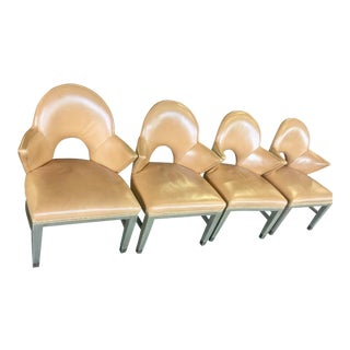Leather Nailhead Cushioned Chairs - Set of 4