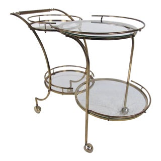 Stylish Mid-Century Modern Circular Brass Bar Cart