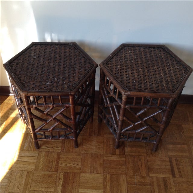 Rattan Chinese Chippendale Fretwork Tables - Pair - Image 2 of 8