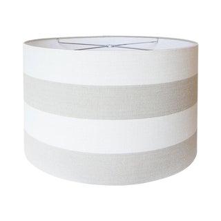 Covington Riley Beige Wide Stripe Fabric Drum Lamp Shade