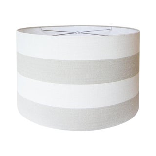 Covington Riley Beige Wide Stripe Fabric Drum Lamp Shade