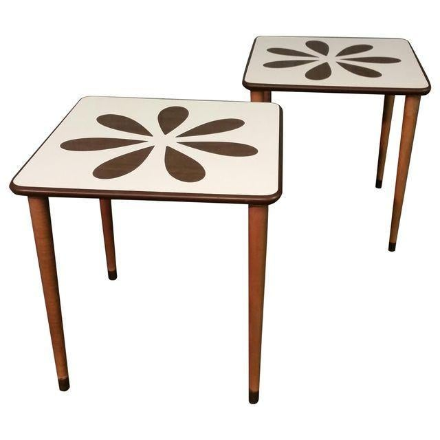 Mid century white formica coffee tables pair chairish Formica coffee table