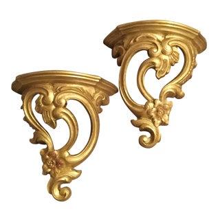 Vintage Golden Wall Shelves - A pair