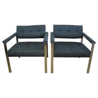 Milo Baughman Vintage Blue Chrome Chairs - A Pair