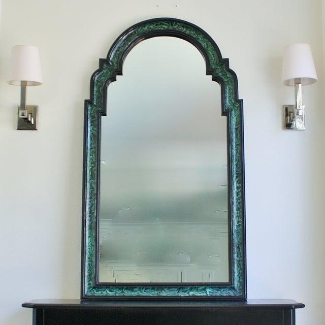 Faux Malachite Lacquered Mirror - Image 2 of 4