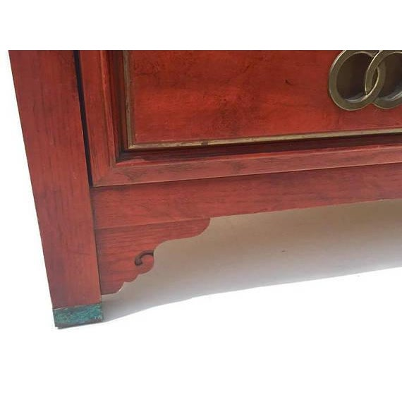 Mid Century Chinoiserie Dresser Asian Credenza Brass Hardware - Image 9 of 10