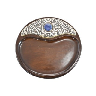 Silver & Blue Lapis Wood Dresser Tray