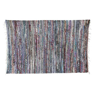 Striped Recycled Sari Rug - 3′4″ × 5′