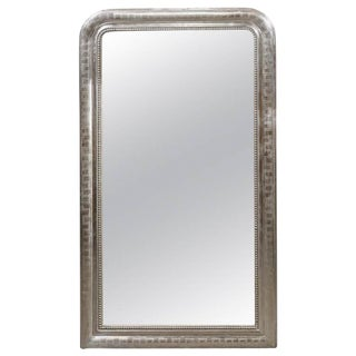 Tall French Louis-Philippe Style Silver Leaf Mirror from the Turn of the Century