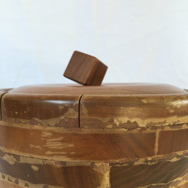 Image of Vintage Walnut and Pyrex Ice Bucket