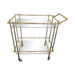 Solid Brass Bamboo-Style Bar Cart