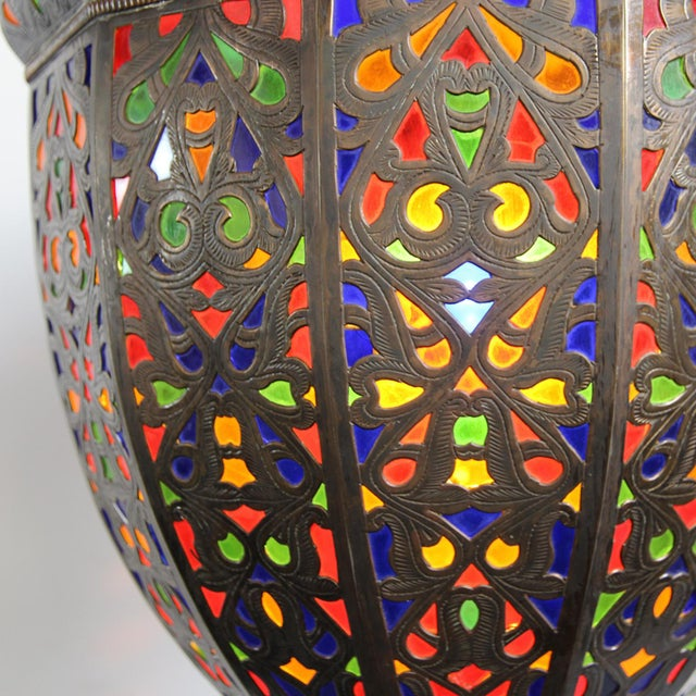 Moroccan Brass & Colored Glass Lantern - Image 4 of 5