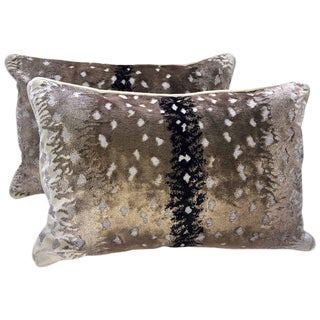 Belgian Antelope Velvet Lumbar Pillows - A Pair