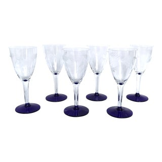 Antique Etched Small Wine Glasses - Set of 6