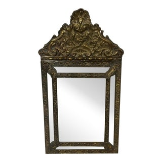 Antique French Brass Repousse Mirror