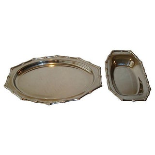 Bamboo Rim Chrome Serving Trays - a Pair