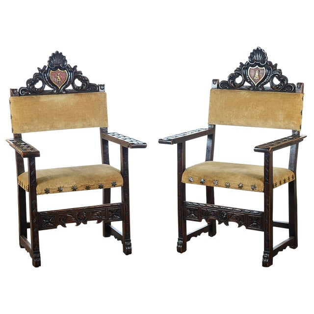 Spanish Renaissance -Carved Side Chairs -A Pair - Image 1 of 10