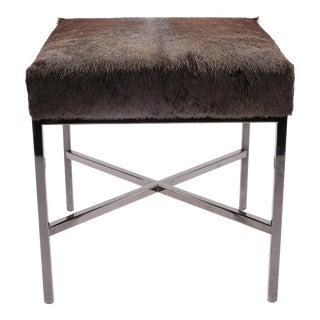 Black Chrome & Wildebeest Upholstered Bench