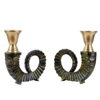 Chapman Brass Ram Horn Candle Holders - A Pair