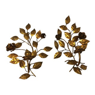 Italian Gilded Foliage and Rose Candle Sconce - A Pair
