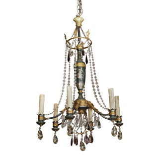 Early 20th century tole, glass beads and crystal chandelier