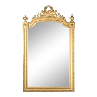 French Louis XVI Style Carved Giltwood Mirror, circa 1820s