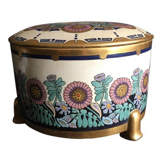 American Satsuma Raised Floral Lidded Bowl