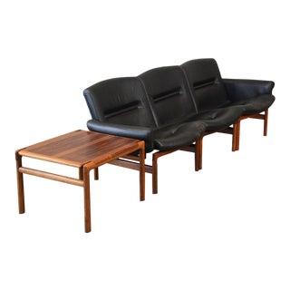 Modular Rosewood and Black Leather Sofa Set