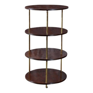 Round Mahogany and Brass Four-Tier Trolley